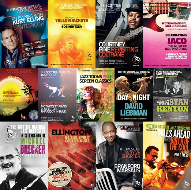 SNJO concert programmes collage